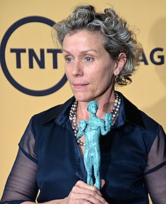 Frances McDormand won twice for her roles in Fargo (1996) and Three Billboards Outside Ebbing, Missouri (2017). Frances McDormand 2015 (cropped).jpg