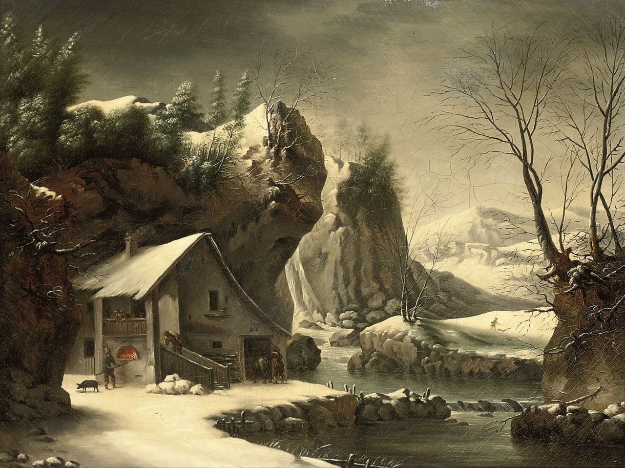 File francesco foschi an extensive winter landscape with for Cottage in the mountains