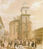 Die Frankfurter Paulskirche im Jahr 1848, als sie Tagungsort des Vorparlaments und der Nationalversammlung war, Aquarell von Jean Nicolas Ventadour.1848 (Quelle: Wikimedia)