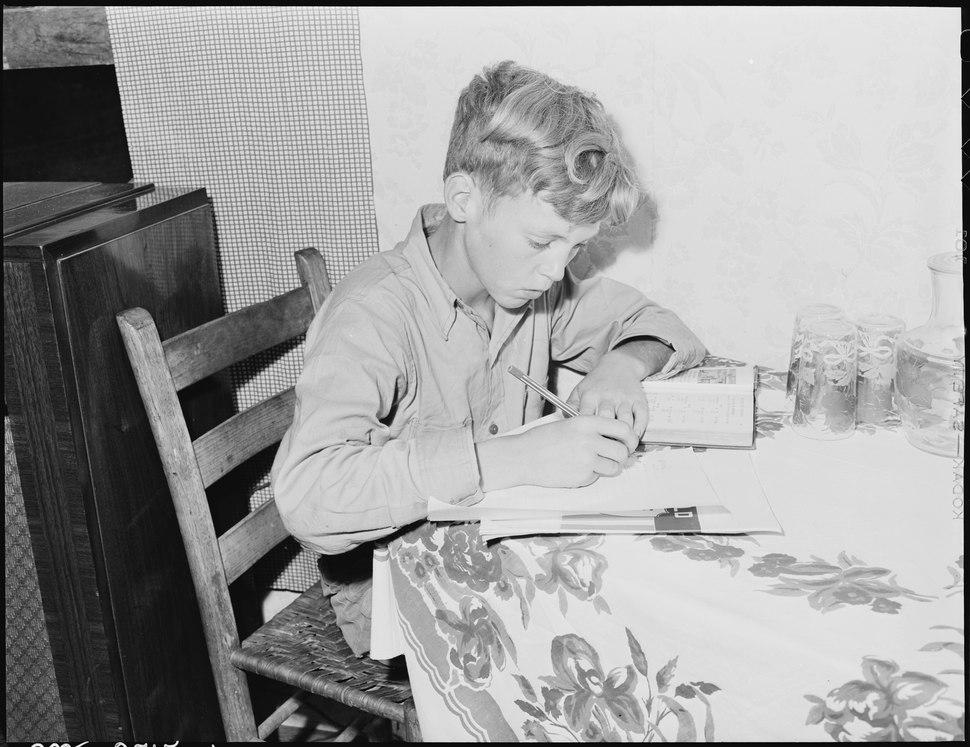 Franklin D. Sergent who is 13 years old and in the fifth grade does his homework - NARA - 541349