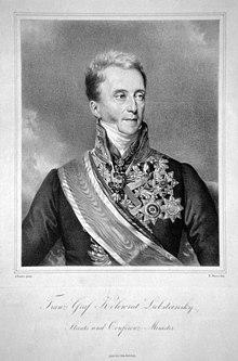 Franz Anton von Kolowrat-Liebsteinsky, Lithographie von Robert Theer nach Johann Ender. (Quelle: Wikimedia)