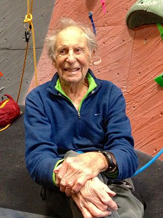 Fred Beckey - Fred Beckey in a climbing gym in 2014