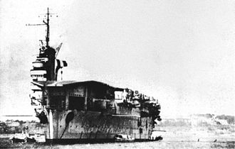 French aircraft carrier Béarn - Image: French carrier Béarn at anchor in the 1940s