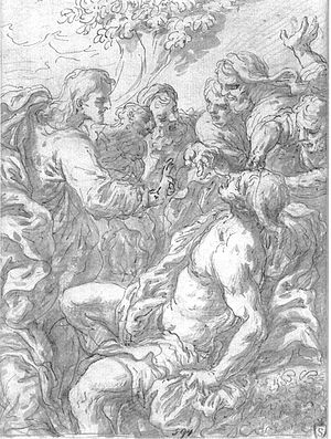 Johann Jakob Frey the Elder - Jesus healing the sick, drawing now considered to be lost