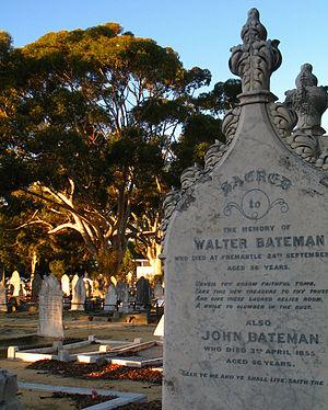John Bateman (Australian settler) - Walter Bateman and his father John Bateman's gravestone in Fremantle Cemetery