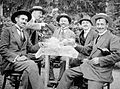 Fun, men, happiness, drinking, posture, gesture, garden, hat Fortepan 2357.jpg
