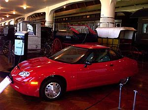 General Motors EV1 electric car inside Henry F...