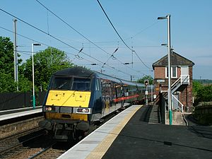 Alnmouth railway station - GNER train enters the station from the north