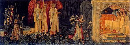 Galahad, Perceval y Bors encuentran el Santo Grial; pintura de Edward Burne-Jones.