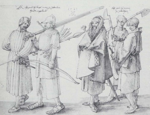 Gaelic warfare - Irish gallowglass and kern. Drawing by Albrecht Dürer, 1521.