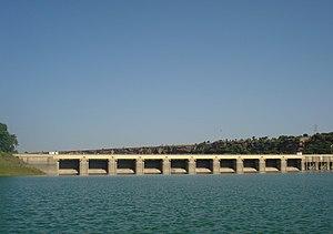 Gandhi Sagar Dam - Upstream view of the Gandhi Sagar Dam in 2009