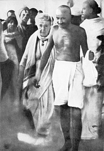 Mahatma Gandhi with Dr. Annie Besant en route to a meeting in Madras in September 1921.  Earlier, in Madurai, on 21 September 1921, Gandhi had adopted the loin-cloth for the first time as a symbol of his identification with India's poor.