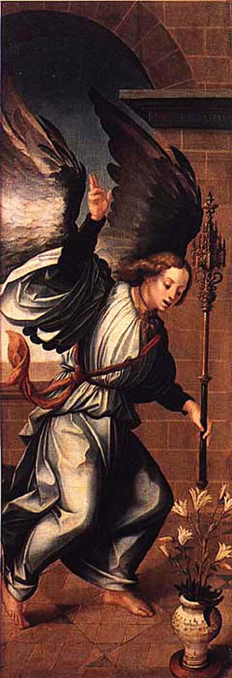 Garcia Fernandes - Angel of the Annunciation (c.1531) by Garcia Fernandes, from the Santa Clara Convent in Coimbra, now in the Machado de Castro Museum.