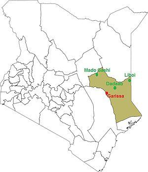 Français : Le comté de Garissa au Kenya et les...
