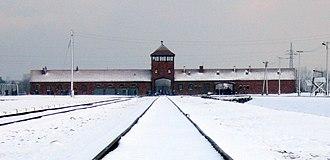Auschwitz concentration camp - Auschwitz II-Birkenau gate from inside the camp, 2007