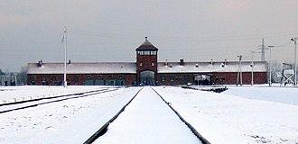 Auschwitz concentration camp - Auschwitz II-Birkenau gate from inside the camp, 2007