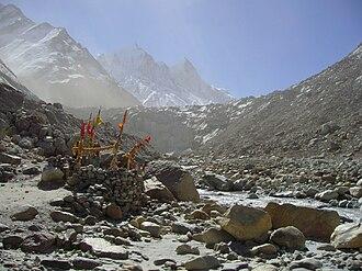 Gangotri Glacier - A small shrine at Gaumukh, Gangotri glacier.