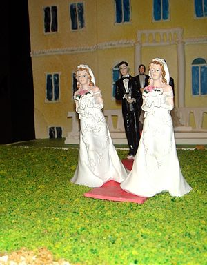 A symbolic marriage cake in favor of allowing ...
