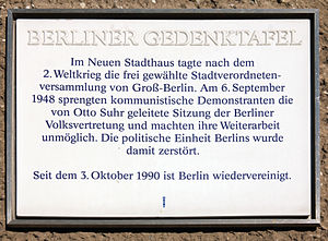 Senate of Berlin - Neues Stadthaus: Plaque commemorating the 1948 Communist putsch