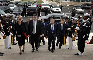 Geir Haarde - Valgerður Sverrisdóttir, Geir Haarde, Donald Rumsfeld and Björn Bjarnason at the Pentagon in October, 2006