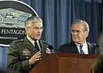 Gen. George W. Casey, Jr. and Donald Rumsfeld, Oct. 2006.jpg