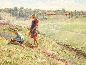 Berry Picking Children a Summer Day