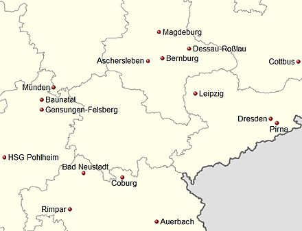 Germany location map Handball 3. Liga Ost 2012-13 v2.jpg