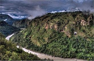 Kusma, Nepal - The mechanized bridge connecting Kushma to Balewa.