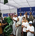 Ghulam Nabi Azad and the Chief Minister of Delhi, Smt. Sheila Dikshit flagged off 'Run for Population Stabilization' on World Population Day, in New Delhi on July 11, 2010.jpg