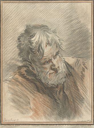 Gilles Demarteau - Head of an old man, after François Boucher