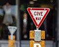 Give way sign for pedestrians, Kaikōura, New Zealand.jpg