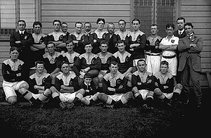1911 NSWRFL season - Glebe RLC 1911 McKivat (centre with ball), flanked by R Algie left F Burge right