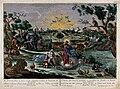 God creates man in the Garden of Eden. Coloured etching. Wellcome V0034183.jpg