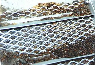Black sand - Black Sands and Gold in Sluicebox, Blue Ribbon Mine, Alaska