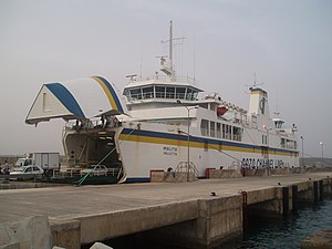Ċirkewwa - A ferry unloads at Ċirkewwa harbour after arriving from Mġarr, Gozo.