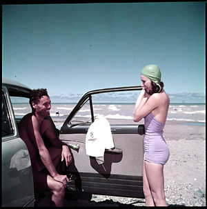 Grand Bend - Getting ready for a dip in the Lake Huron surf at Grand Bend, July 1951
