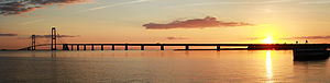 Great Belt Fixed Link - Panoramic picture of the East Bridge