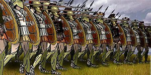 Soldiers armed with spears and shields standing in a line