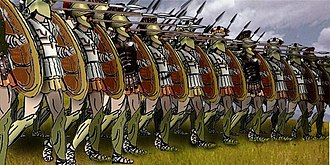 Modern drawing of a phalanx. The hoplites, with the exception of the Spartans, were not actually as uniformly equipped as depicted because each soldier would buy his own arms and decorate them at his discretion.
