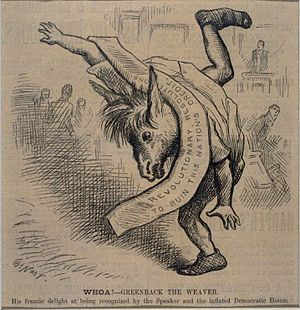 James B. Weaver - Thomas Nast depicts Weaver as an ungainly donkey who is finally recognized by Speaker Samuel J. Randall.