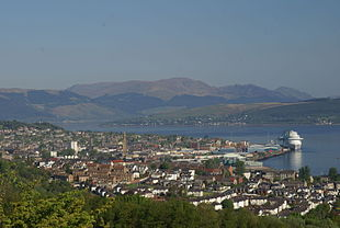 """View northwest over Greenock and the River Clyde, with the <em><a href=""""http://search.lycos.com/web/?_z=0&q=%22Caribbean%20Princess%22"""">Caribbean Princess</a></em> at Greenock Ocean Terminal"""