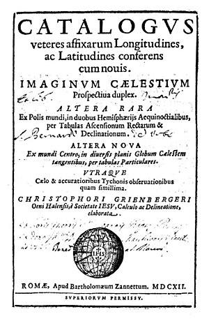 Christoph Grienberger - Catalogus veteres affixarum longitudines, ac latitudines conferens cum novis, 1612