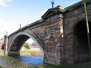 Grosvenor Bridge (Chester) - Oblique view of the Grosvenor Bridge, taken from the South bank of the river
