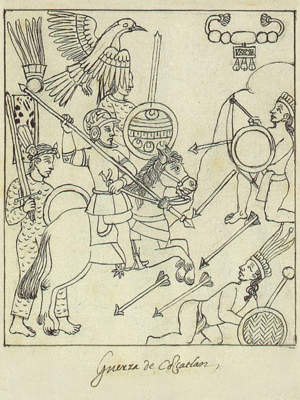 Spanish conquest of El Salvador - A page from the Lienzo de Tlaxcala, depicting the conquest of Cuscatlan