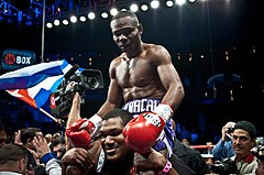 Guillermo Rigondeaux after the win vs. Rico Ramos 20JAN2012 Las Vegas - Palms Casino.jpg