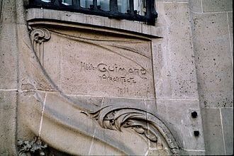 Hector Guimard - Guimard's signature at 17 Rue La Fontaine, Paris