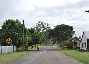 Gundiah - Main Street- looking towards the railway line. The Prince Alfred Hotel can be seen in the upper right.