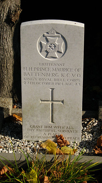 Prince Maurice of Battenberg - Grave of Prince Maurice of Battenberg in Ypres, Belgium.