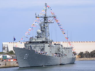 HMAS Adelaide (FFG 01) - Image: HMAS Adelaide FFG01 front port