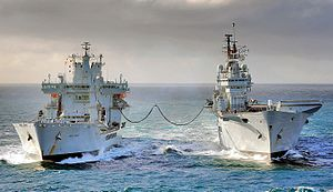 Underway replenishment - RFA Wave Knight Conducting RAS Operation, 2010.